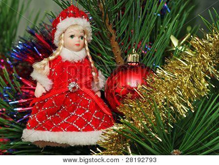 Snow Maidan And Red Cristmas Ball On The Cristmas Pine