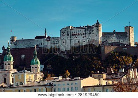Festung Hohensalzburg Fortress In Salzburg In Austria - Medieval Castle At Cliff Under The Old Town.