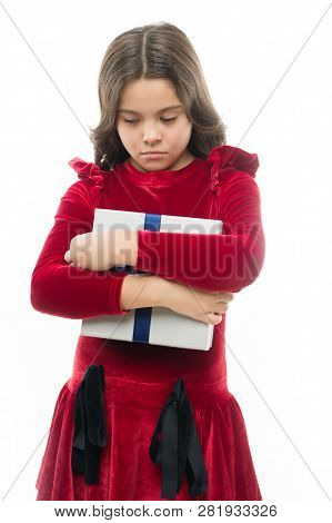 Sad Child. Birthday Wish List. Birthday Sadness Concept. Girl Kid Hold Birthday Gift Box. Every Girl
