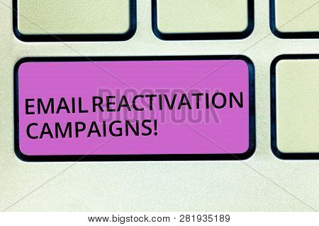 Handwriting text Email Reactivation Campaigns. Concept meaning Triggered email for sleeping subscribers Keyboard key Intention to create computer message pressing keypad idea. poster