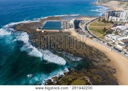 Aerial View Of Newcastle Baths And The Cowrie Hole. Newcastle Is A Popular Destination In Nsw And Is