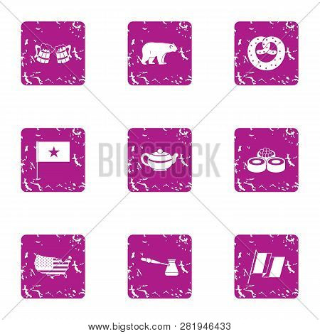 Challenge Icons Set. Grunge Set Of 9 Challenge Icons For Web Isolated On White Background