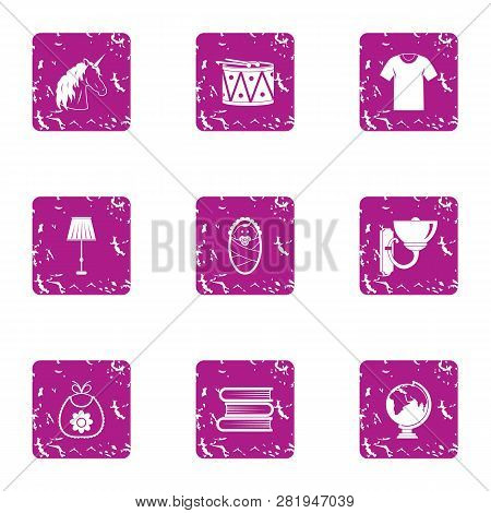 School Uniform Icons Set. Grunge Set Of 9 School Uniform Icons For Web Isolated On White Background