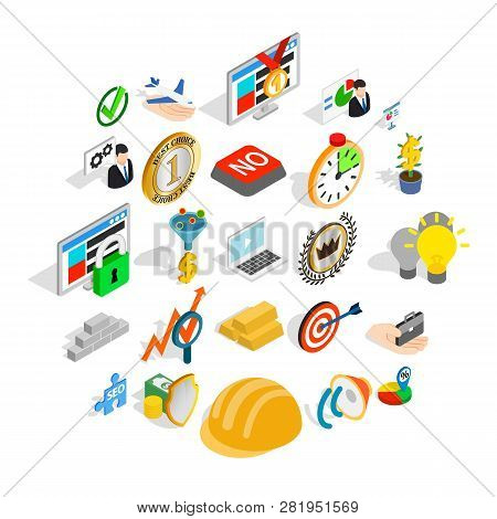 Solution Of The Problem Icons Set. Isometric Set Of 25 Solution Of The Problem Icons For Web Isolate