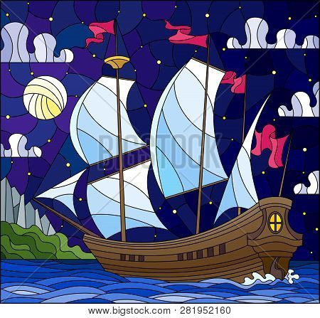 Illustration In Stained Glass Style With Sailboats With Hite Sails Against The Starry Sky, The Sea A