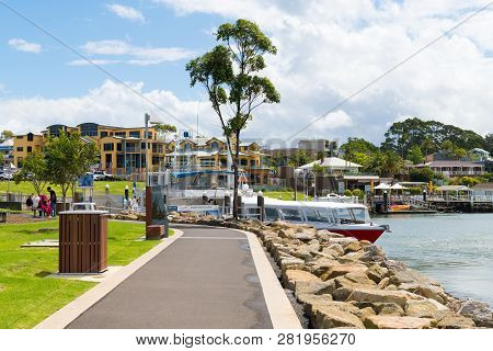 View Over The Coastal Walking Path In The City Of Huskisson, Nsw, Australia, A Small Coastal Town We