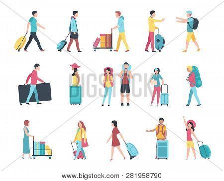 Travel People. Airport Tourist Baggage Crowd Passengers Check Passport Control Terminal Queue. Peopl