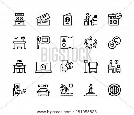 Tourism Line Icons. Travel Holiday Resort Airplane Vacation Ticket Tourism Agency Bus Car Rent Trans