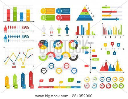 Infographics Chart Set. Charts Result Graphs Icons Statistics Financial Data Diagrams. Isolated Anal