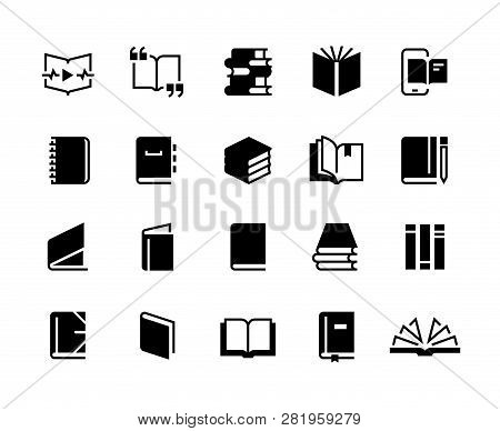 Black Books Icons. Study Education Book Set, Textbook Magazine Diary Bible Business Collection. Vect