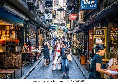 3rd January 2019, Melbourne Australia: Street View Of Centre Place An Iconic Pedestrian Laneway With