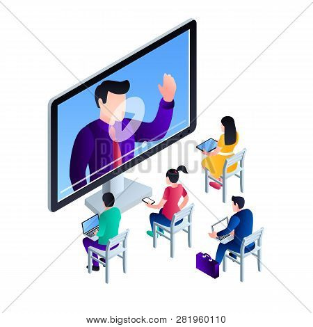 Computer Video Webinar Concept Background. Isometric Illustration Of Computer Video Webinar Vector C