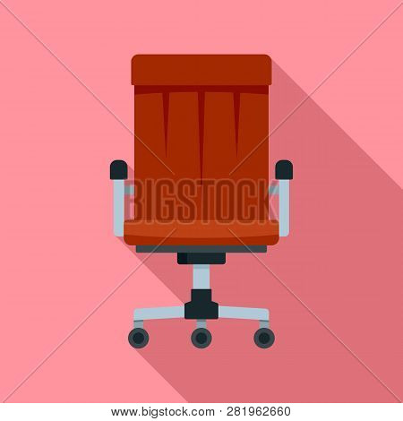 Boss Leather Chair Icon. Flat Illustration Of Boss Leather Chair Vector Icon For Web Design