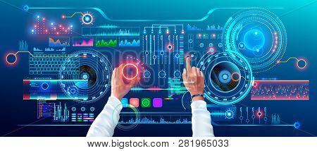 Scientist Work With Futuristic Holographic Hud Interface. User Hands Controls Abstract Tech Elements