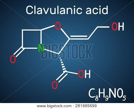 Clavulanic Acid β-lactam Drug Molecule. Structural Chemical Formula On The Dark Blue Background. Vec