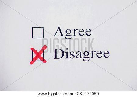 Checklist Box - Agree And Disagree. Check Form Concept