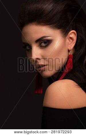 High Fashion Portrait Shoot Of Gorgeous Glamour Lady. Suitable For Luxury Lifestyle Design, Makeup,