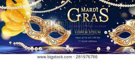 Masquerade Mask With Feather For Mardi Gras Carnival Banner. Venice Event Invite Background With Bea