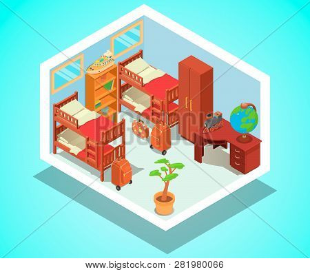Hostel Concept Banner. Isometric Banner Of  Hostel Vector Concept For Web, Giftcard And Postcard