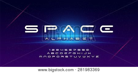 Abstract Technology Space Font And Alphabet. Techno Effect Fonts Designs. Typography Digital Sci-fi