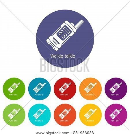 Portable Radio Icons Color Set Vector For Any Web Design On White Background