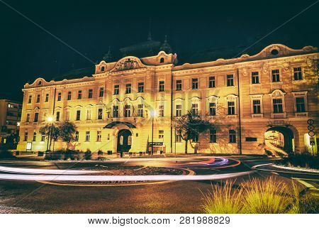 Building Of Gallery In Nitra, Slovak Republic. Night Scene. Travel Destination. Analog Photo Filter
