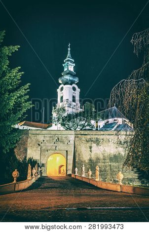Ancient Castle In Nitra, Slovak Republic. Night Scene. Cultural Heritage. Architectural Theme. Analo