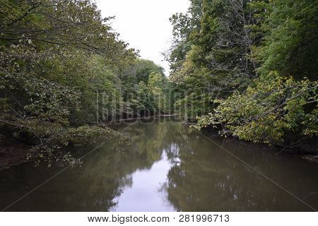 View To A Beautiful Natural River In Front Of Green Nature. Close-up Of A Flowing River Surrounded B