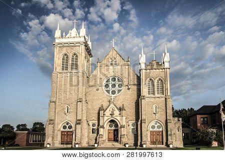 Marine City, Michigan, Usa - September 4, 2018: Exterior Of The Holy Cross Church In Marine City. Th
