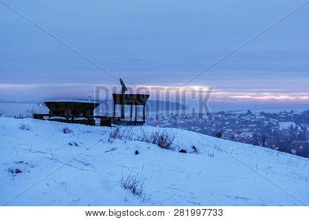 Sightseeing Tourist Telescope In Calvary, Nitra, Slovak Republic. Travel Destination. Night Winter S