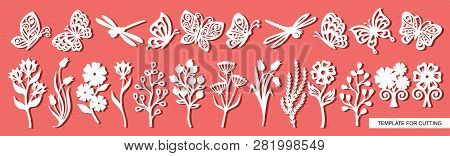 Set Of Twigs, Flowers, Butterflies And Dragonflies. Plant Theme. White Objects On A Pink Background.