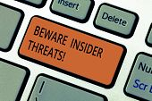Text sign showing Beware Insider Threats. Conceptual photo Be cautious on malicious attack inside the network Keyboard key Intention to create computer message pressing keypad idea. poster