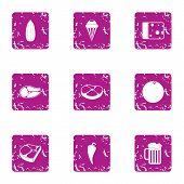 Harvesting foodstuff icons set. Grunge set of 9 harvesting foodstuff icons for web isolated on white background poster