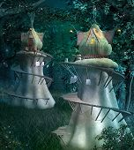 Elves fantasy town in the dark and fabulous forest - 3D illustration poster