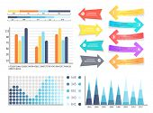 Infographics and pointers, information visual presentation vector. Arrowhead, scales and numeric data schemes. Flowcharts info concept visualization poster