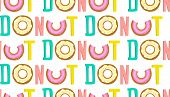 Repetitive word donut seamless background hand drawn lettering. poster