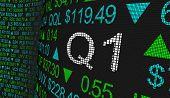 Q1 1st First Quarter Period Stock Market Ticker Words 3d Illustration poster