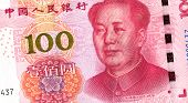 Banknote of Chinese 100 yuan with portrait of Mao Zedong. Chinese paper currency poster