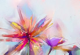 Abstract Colorful Oil, Acrylic Painting Of Spring Flower. Hand Painted Brush Stroke On Canvas. Illus