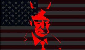 Washington, Usa - Jan 2019: Us President Donald Trump Vector Portrait On Dark Background. - Vector P