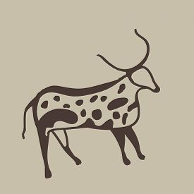Painting Of An Ancient Antelope On A Cave Wall