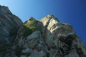Rocky Cliffs Overlooking The Irish Sea At Llandudno (wales, Uk) Against A Deep Blue Sky On A Bright