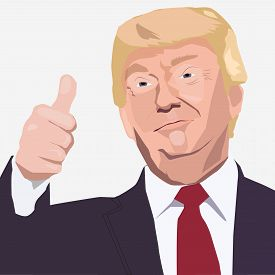 Feb, 2018: Us President Donald Trump Vector Portrait With Thumb Up.