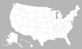 United States Of America Blank Map With States Isolated On A White Background. Usa Map Background. V