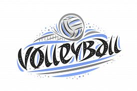 Vector Logo For Volleyball, Outline Illustration Of Thrown Ball In Goal, Original Decorative Brush T