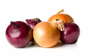 Group Of Purple And Yellow Onions Isolated On White Background