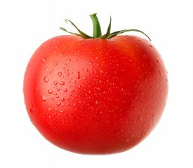 Close-up View Of Ripe Red Tomato Isolated On White Background
