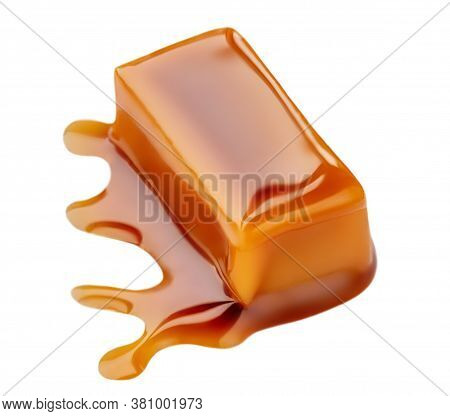Sweet Caramel Candies And Melted Caramel Topping Isolated On A White Background.