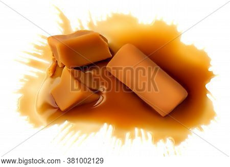 Soft Homemade Salted Caramel Chunks  Isolated On White Background. Golden Butterscotch Toffee Candy