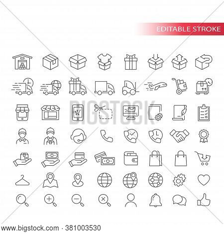 E-commerce Thin Line Vector Icon Set. Online Shopping, E Commerce Symbols. Store, Delivery Truck, Co